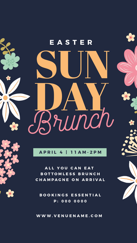 Easter Sunday Brunch Dark Blue Floral Template