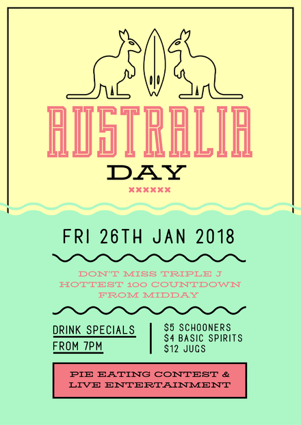 green gold australia day template with outline kangaroos