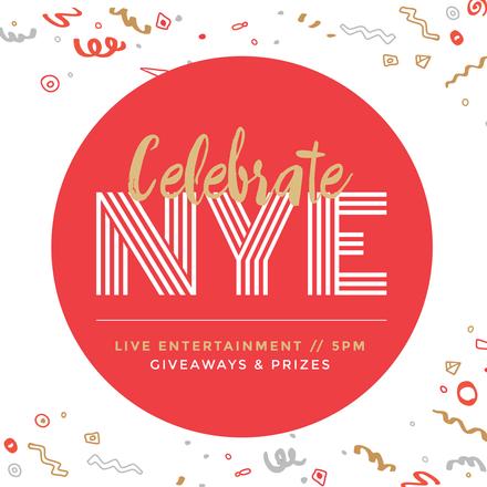 Celebrate NYE Design with illustration confetti & streamers