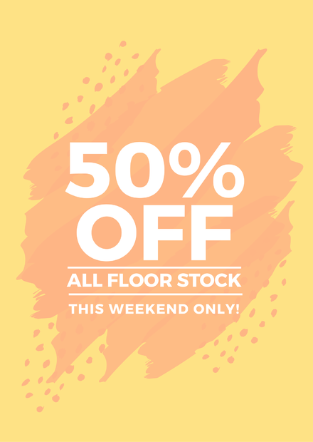 50% off Retail Sign Template with brush texture background