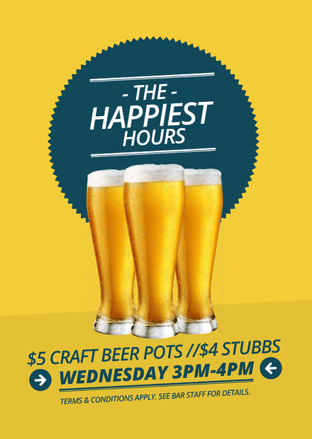 Blue Starburst The Happiest Hours Happy Hour Poster Template