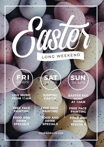 Easter Long Weekend Template with Pastel Easter Egg Background