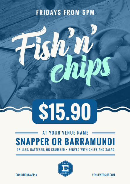 Blue and white fish chips poster with wave graphic for Wave fish and chips