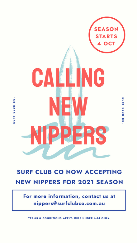Calling New Nippers Surf Club Promotion Template