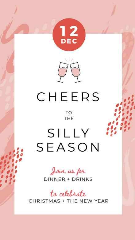 Cheers to the Silly Season Brushstroke Template