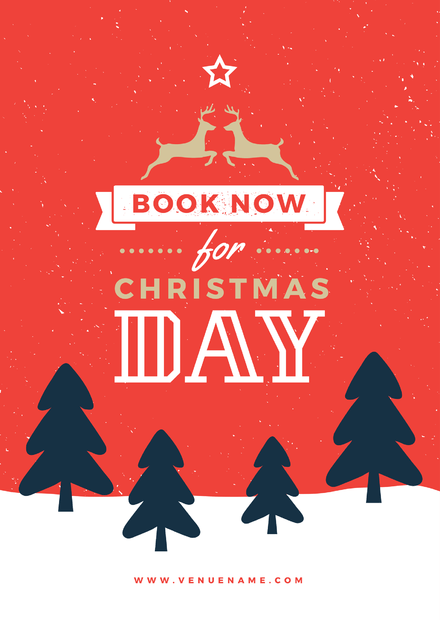 Book Now for Christmas Day Template with Xmas tree illustrations