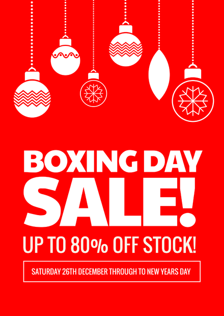 Christmas And Boxing Day Retail Sale Free Flyer Template  For Sale Poster Template