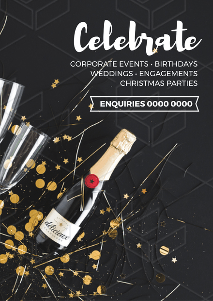 Celebrate Functions design with Champagne & confetti
