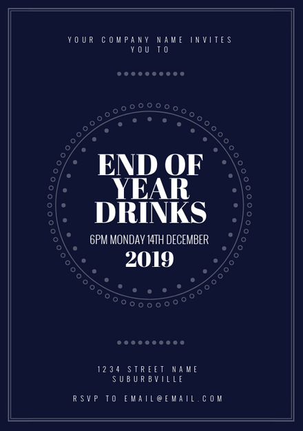 navy blue white end of year drinks invitation template easil
