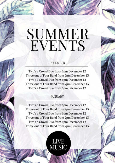 Summer Events Promotional Template with Tropical Leaves