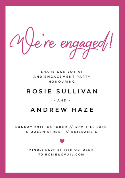 Pink And White Engagement Invitation Template