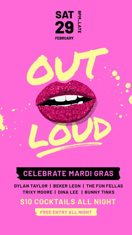Mardi Gras Out Loud Glitter Lips