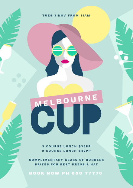 Melbourne Cup Event Template with Illustrated Woman in Hat