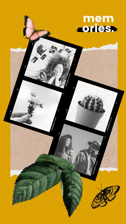 Collage: Film Strip Vintage Butterfly Garden