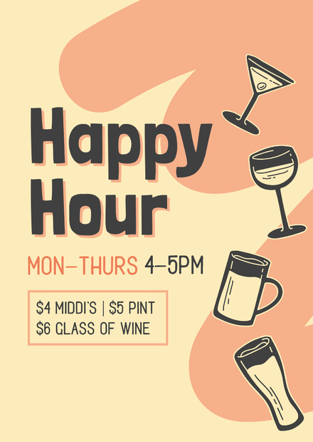Happy Hour Template with illustrated martini, wine & beer graphics