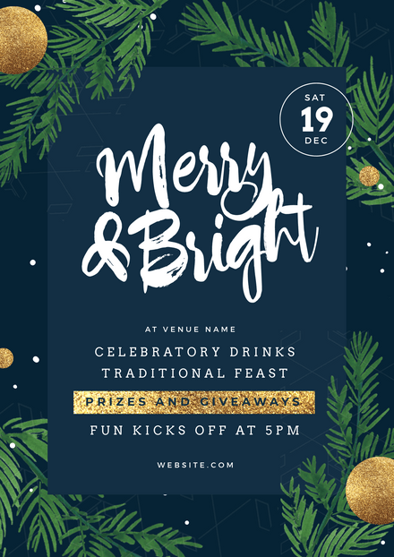 Merry & Bright Navy and Gold Christmas Party Promotion Graphic