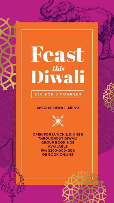 Feast this Diwali - Pink, Purple & Gold Template