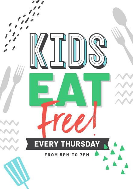 Kids Eat Free - Large Type & Illustration Template