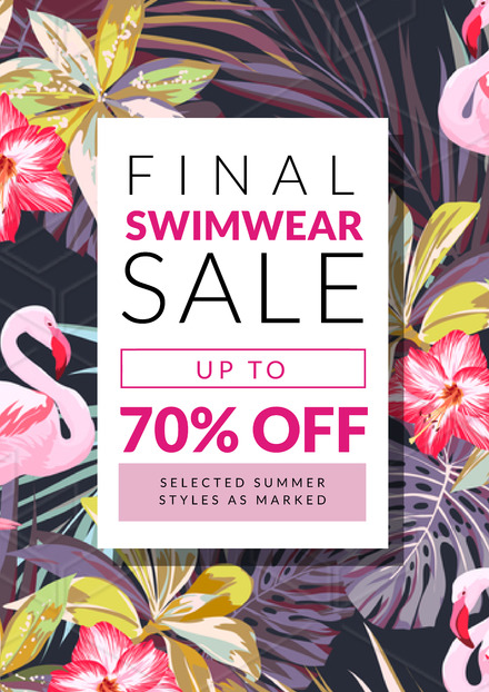 Final Swimwear Sale Sign with tropical & flamingo background