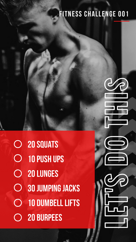 6 Step Workout Challenge Black & Red Template