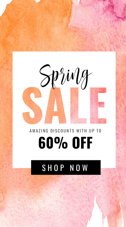 Spring Sale Template with Watercolor Text