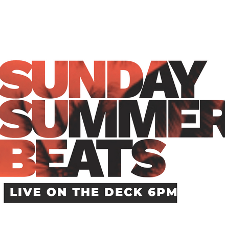 Sunday Summer Beats Template with Tropical Palm Tree Text Mask