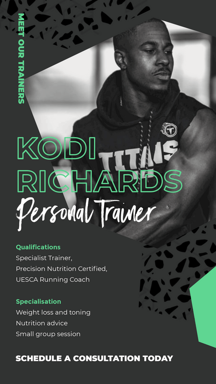 Meet our Trainers - Charcoal & Green Template