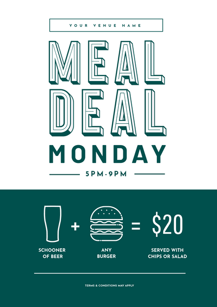 Beer & Burger Meal Deal Promotional Template