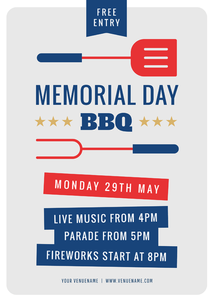 Memorial Day BBQ Graphic Template with red & blue icons