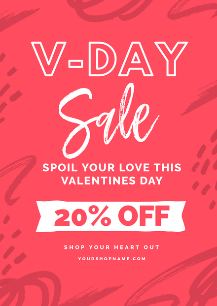 Valentines Day Sale Vivid Pink Template