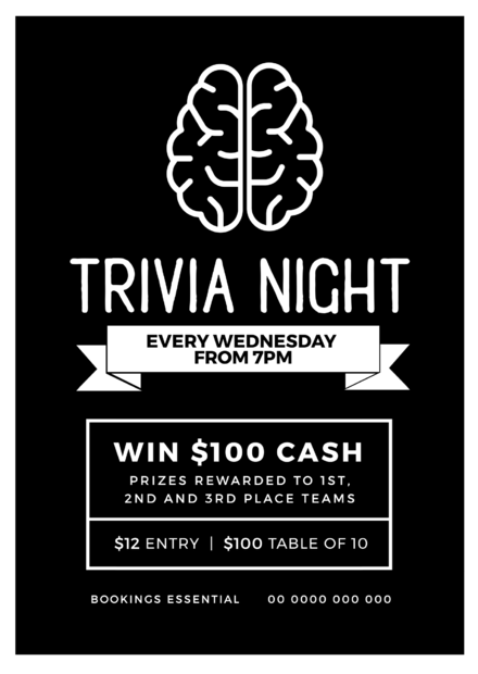 Trivia Night Template with brain graphic