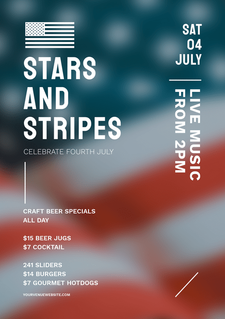 4th of July Stars and Stripes Blurred Flag Background