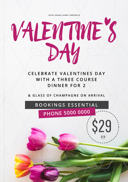 Valentines Day design with stunning colorful tulip background