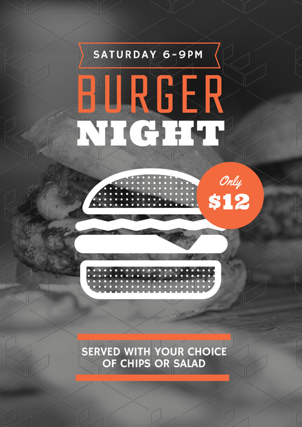 Black, White and Orange Burger Night Poster Design with Vector Burger Graphic
