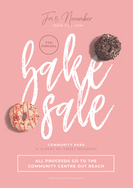 Pink Bake Sale Template with chocolate and pink iced donuts