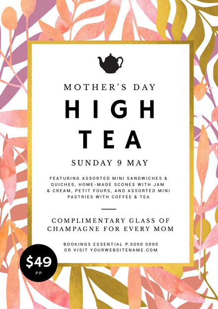 Watercolor Leaves Mother's Day High Tea Template
