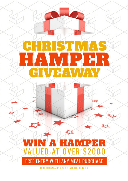 Win a Christmas Hamper Template with gift box and scattered star confetti
