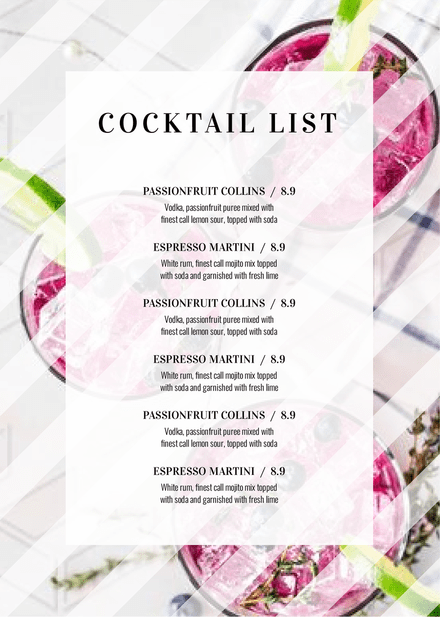 Cocktail List with colorful drinks Background