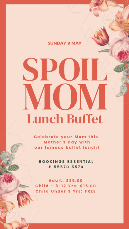 Spoil Mom Lunch Buffet with vintage flowers Template