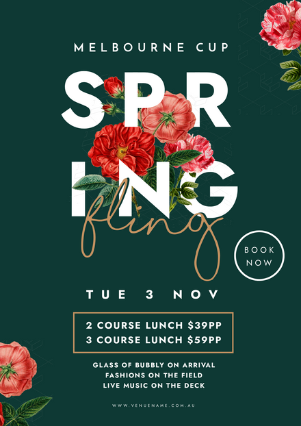 Floral & Green Melbourne Cup Event Template