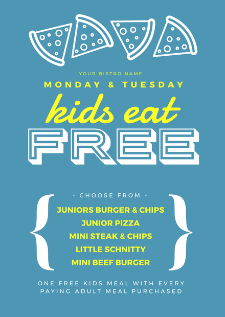 blue and yellow kids eat free menu promotion template easil