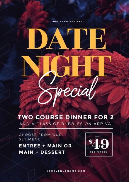 Date Night Special with Dark Floral Background