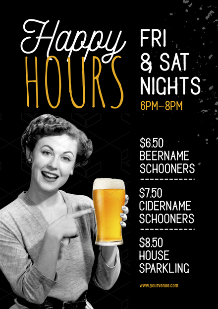 Happy Hours - Vintage Style Template