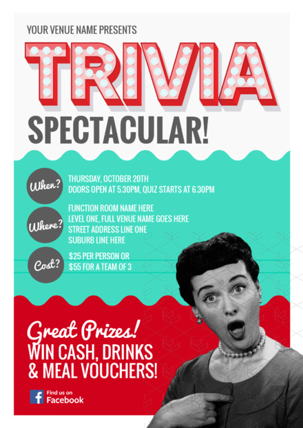 Trivia Night Event Template With Vintage Lady Easil