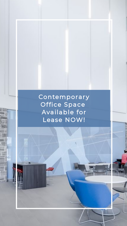 Contemporary Office Space for Lease Blue Overlay Social Temp