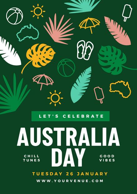 Celebrate Australia Day Colourful Icons Template