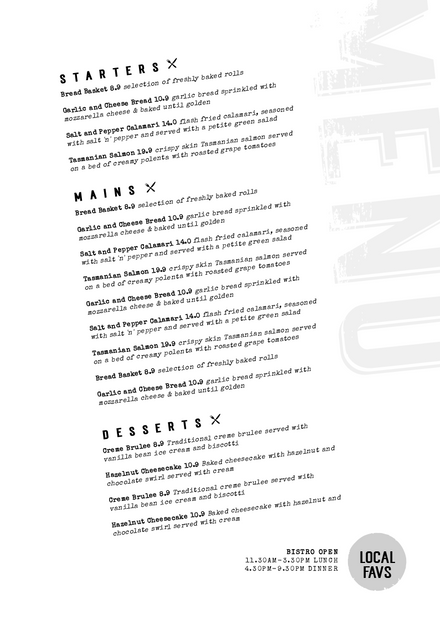 Menu with angled text and rough heading