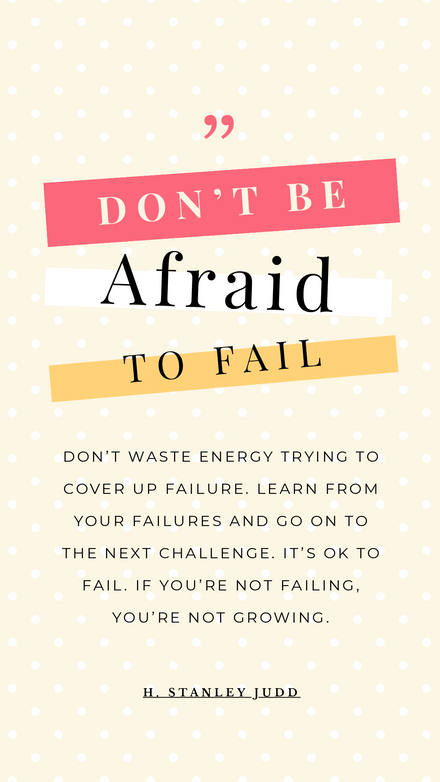Don't be afraid to fail - Motivational Quote graphic Template