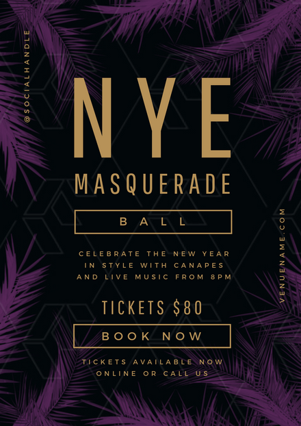 NYE Masquerade ball Template Purple & Gold Theme