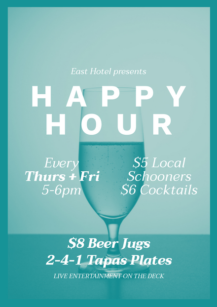 Light Green Happy Hour Template with champagne in glass